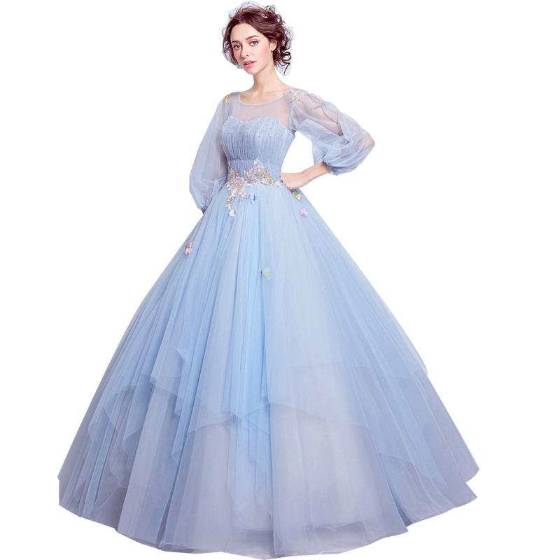 Sweet Light Blue Flower Fairy Princess Party Ball Gown