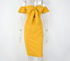 Off Shoulder Summer Dress Sexy Bow Tie Bustier Party Body con Dress Yellow Women Midi Dress Ladies Dresses-SheSimplyShops