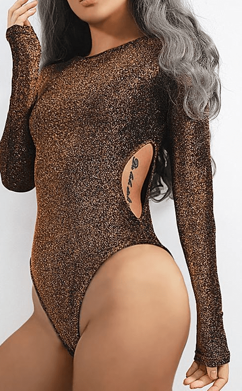 Sexy Bodysuit Women Hollow Out Sequin Bodysuit Long Sleeve Romper Jumpsuit Skinny Body con Jumpsuits-SheSimplyShops
