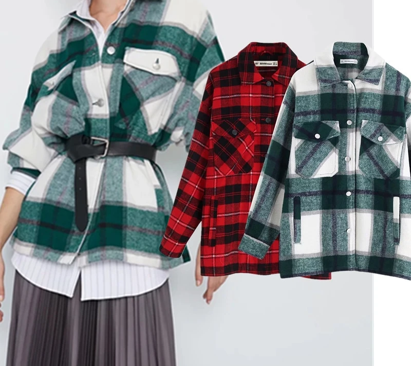 Withered winter jacket women england vintage Flannel plaid oversize casaco feminino jaqueta feminina jacket women plua size tops