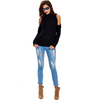 HAOYUAN Turtleneck cold shoulder knitted sweater women casual streetwear autumn winter jumper sexy korean pullover sweater