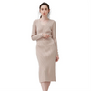 GOPLUS Winter Knitted Sweater Dress Women V Neck Warm Slim Midi Dress Solid Long Sleeve Buttons Sashes Vestidos Female