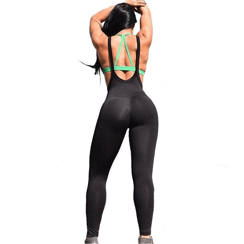 Women Yoga Pant Solid Color Sport Jumpsuit Skinny Romper Gym Tight Fitness Leggings Bodysuit Elastic Gym Sports Pant-ACTIVEWEAR-SheSimplyShops