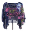 Women Floral Print Chiffon Shirts Loose Casual Beach Blouse