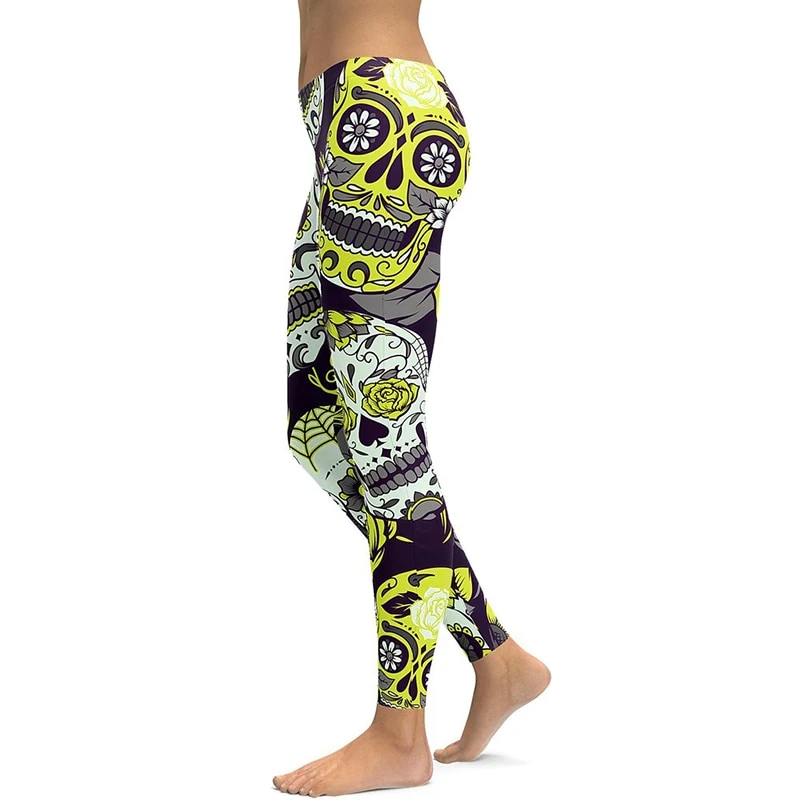 LI FI Yellow Sugar Skull Yoga Leggings Yoga Pants Workout Sports Gym Leggings