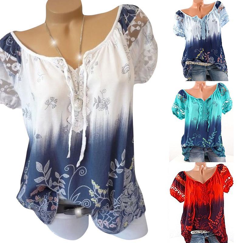 Women Summer Short Sleeve V Neck Floral Print Loose Tops Blouses Casual Lace Fashion Tops Shirts Blouses-Blouse-SheSimplyShops