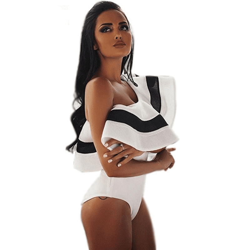 Sexy One Shoulder One Piece Swimsuit Ruffle Swimwear Women Vintage Retro Bodysuit Solid Black White Beach Swimsuit-SheSimplyShops