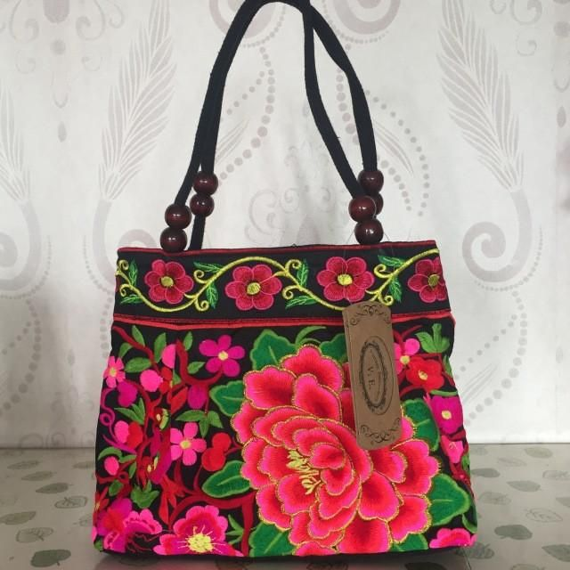 Retro Handbag Double Faced Flower Design Embroidered Women Bags Handmade Vintage Canvas Wood Beads Handbag