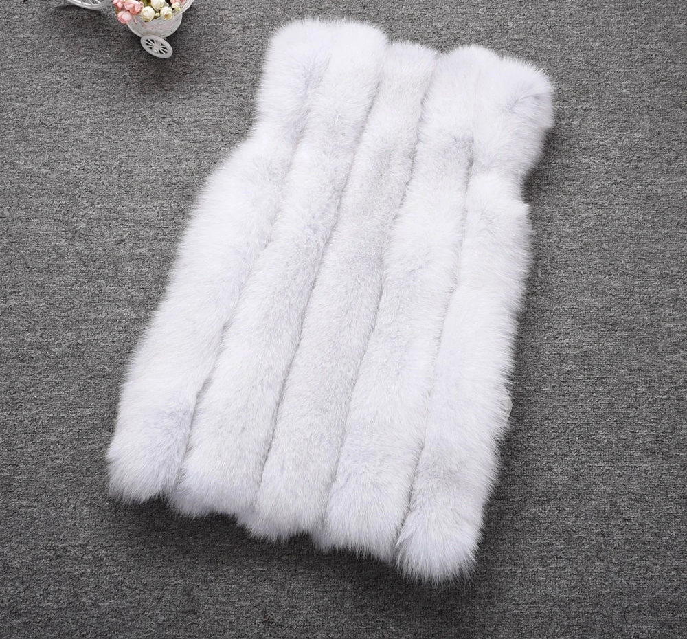 High Quality Real Fur Gilet Women's Winter Warm Natural Fox Fur Vests Lady Style Waistcoat S7495