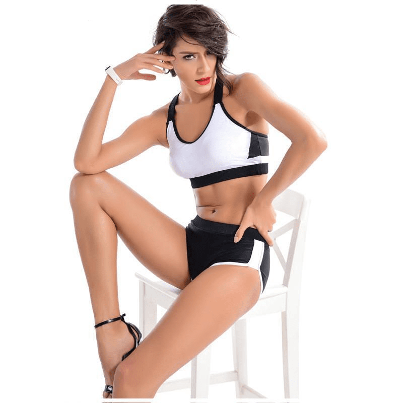 Low Waist Elastic Sports Suit Shorts Set Gym Training Sport Clothing Sexy Steel Pipe Dance For Women Bikini Set Bra-ACTIVEWEAR-SheSimplyShops