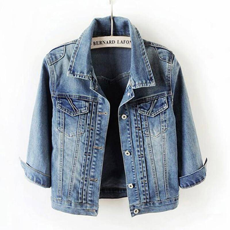 SEDUTMO Plus Size 5XL Jean Jacket Women Boyfriend Denim Coat Streetwear Harajuku Vintage Autumn Basic Outerwear ED199