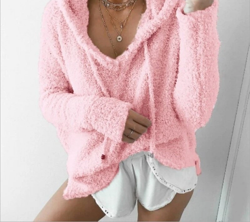 Autumn Top Women Casual Mohair Hooded Pullovers V Neck Fleece Sweater Sweet Loose Warm Winter Mohair Tops Pullover