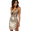 Metallic Plunge Cowl Party Dress Gold Slit Backless Women Summer Dresses Mini Bodycon Draped Slim Club Dress