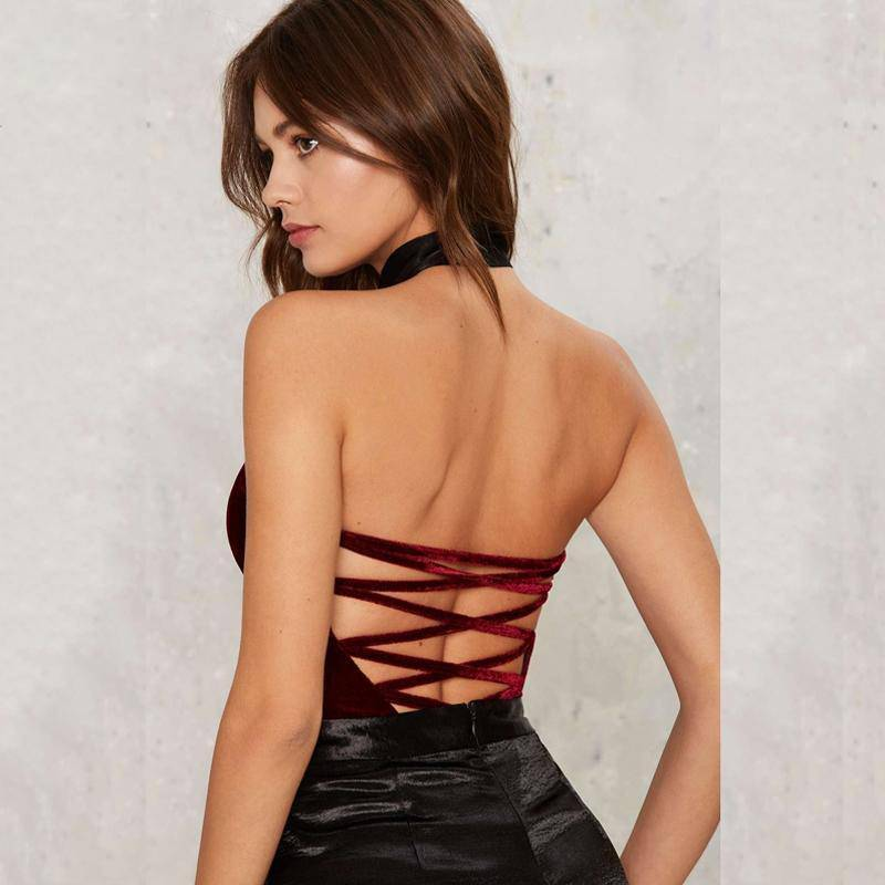 Velvet Strapless V Neck Bodysuits