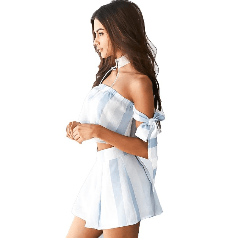 Strapless Off Shoulder Women Rompers Striped Summer Sexy Jumpsuits Wide Leg Shorts Casual Beach-SheSimplyShops