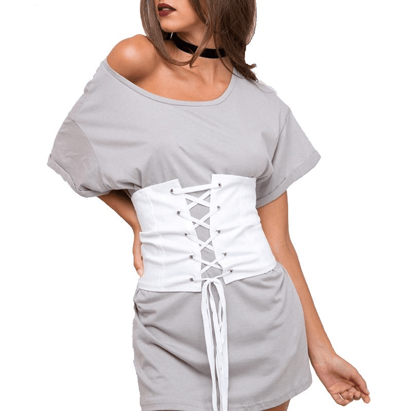 White Lace Up Women Suede Faux Leather Waist Belt Corset Belts Shape-Making Midriff-Clinchers-SheSimplyShops