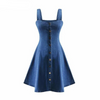 Summer Denim Dress Off Shoulder Suspender Jeans Dresses Woman Single Breasted One Piece Clothing Party wear Beachwear