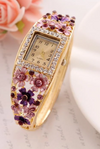 Hesiod Antique Square Dial Full Crystal Flower Bracelet Quartz Watch for Women Colorful Bangle Watch