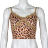 Leopard Criss-cross Lace Front Camis Tops Punk Summer Backless Crop Top Streetwear Party Wear