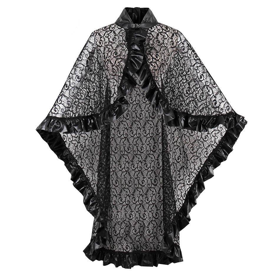 Gothic Wraps Lace PU Women Autumn Shawls Outwear Witch Vampire Black Decor Accessories Street Goth Poncho Cloaks