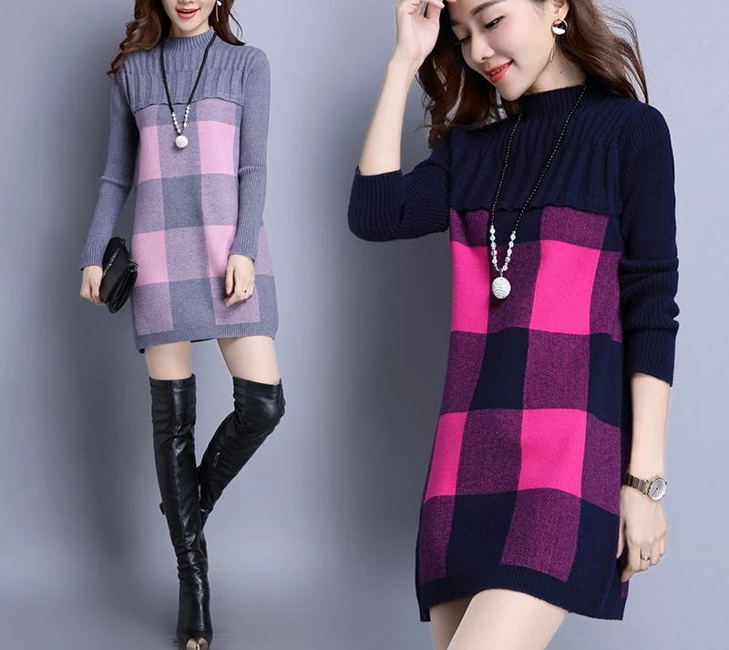 XJXKS Sweater women winter turtleneck loose long section of the womens sweaters fashion autumn pullover thickening