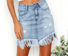 High Waist Skirts Women Denim Skirts Women Tassel Summer Skirt Casual Jeans Skirt Sexy Skirts Mini Blue-SheSimplyShops