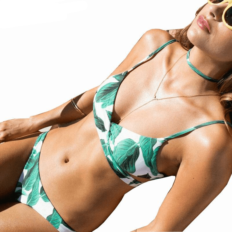 Bikini Swimsuit Female Cross Push Up Swimwear Women Floral Swimsuit Bikinis Set Halter Beach Bathing Suits Wear-SWIMWEAR-SheSimplyShops