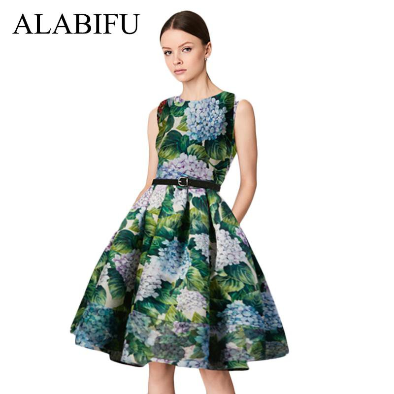 Vintage Elegant Women Summer Dress Casual Sleeveless Floral Print Party Dress Female Sexy Slim Ball Gown Dress-Dress-SheSimplyShops