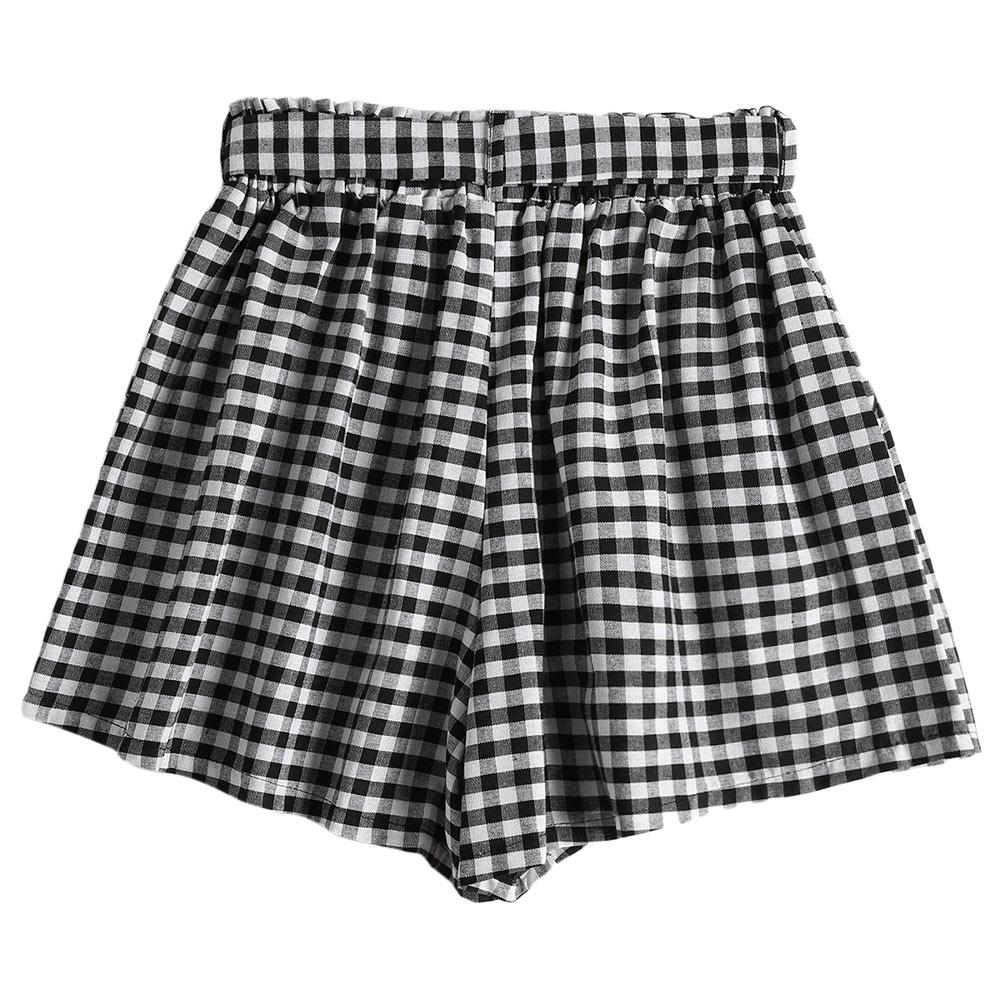 Gingham Print Belted Paper Bag Shorts Women Straight Cotton High Waist Pocket Shorts Causal shorts Women Clothing-SheSimplyShops