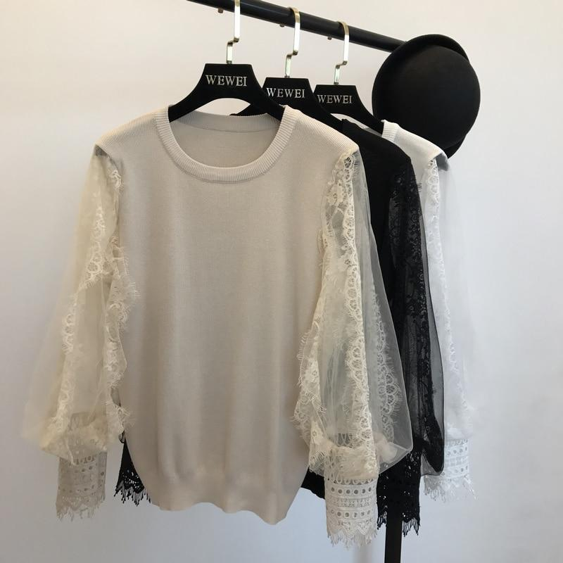 Women Knitted Loose Sweaters Mesh Patchwork Sleeve Female Casual Jumper Tops