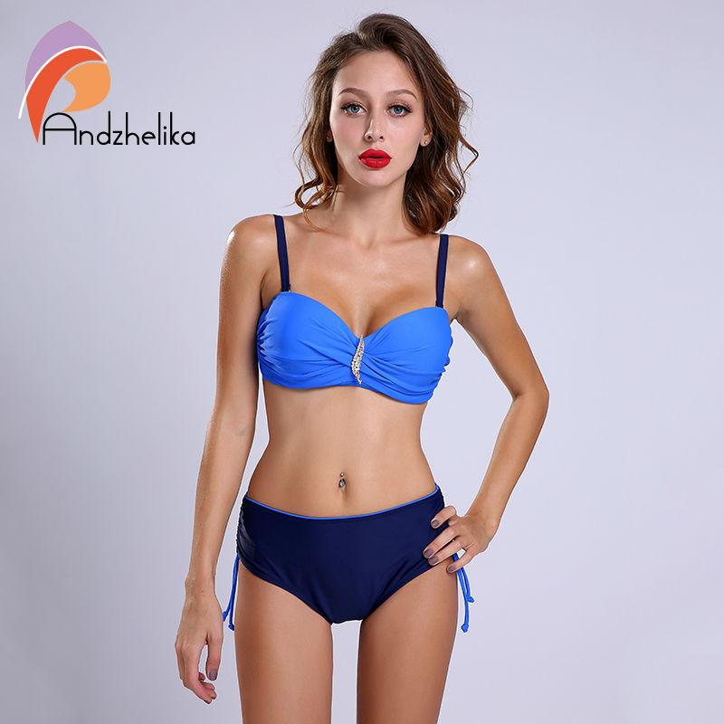 New Bikini Set Swimsuit Women Sexy Swimwear Solid Diamond High Waist swimsuit Swim Bathing Suits-SWIMWEAR-SheSimplyShops