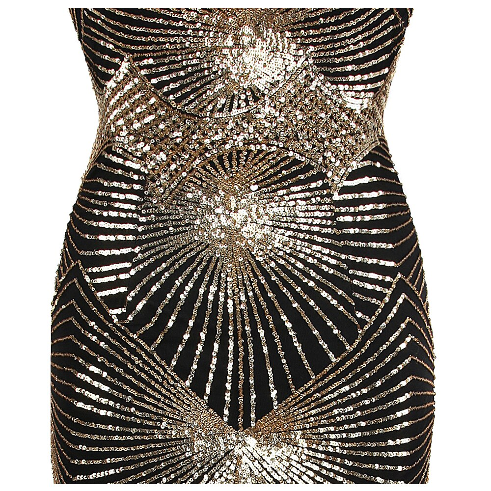Twinkling Golden Sequin Gatsby Flapper Court Train Maxi Evening Dress