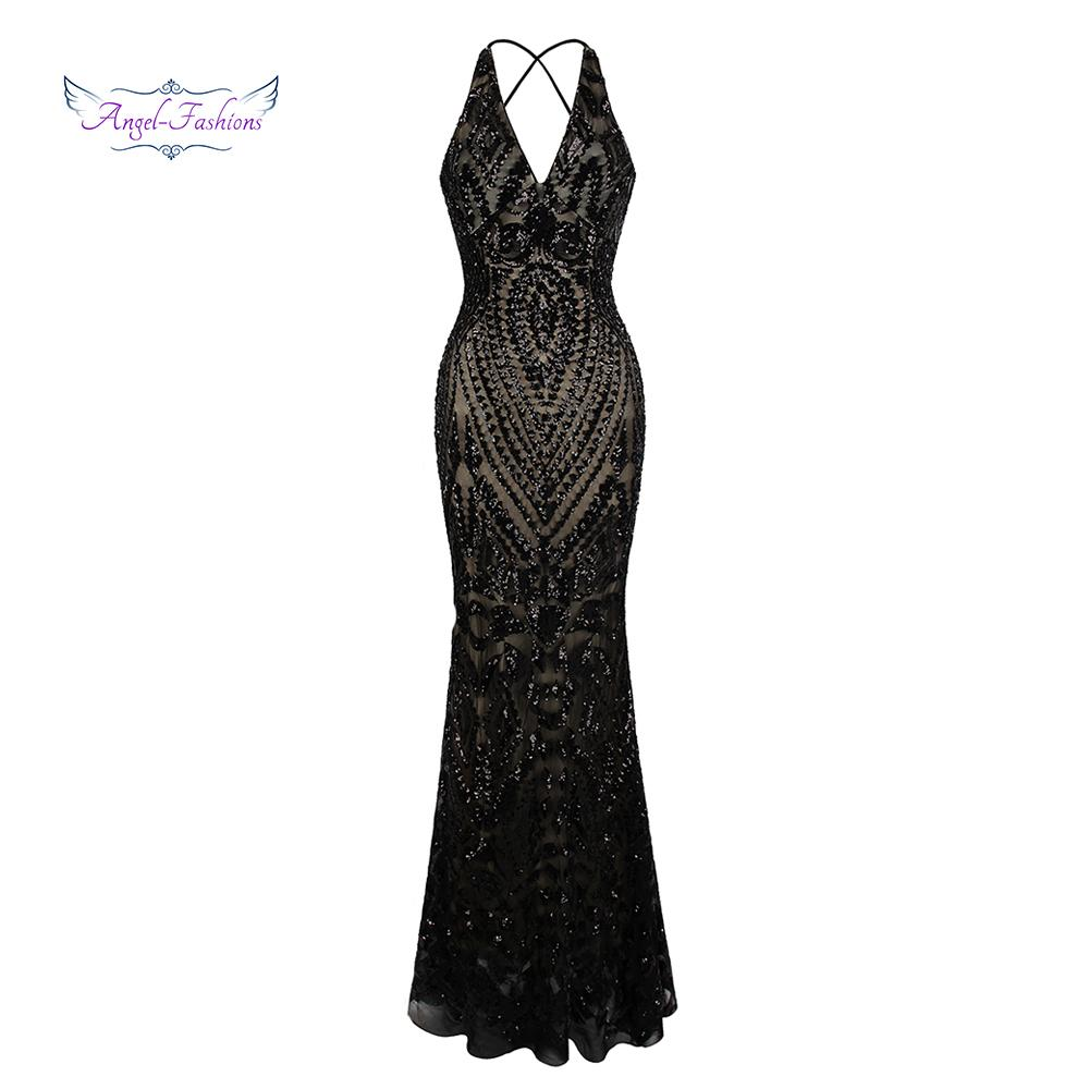 Vintage Gatsby Party Sequin Mermaid Long Evening Dress-Dress-SheSimplyShops