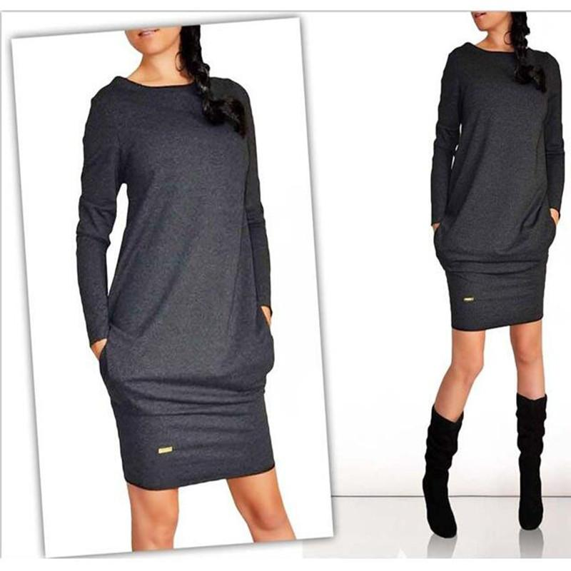 Autumn Winter Dresses Fashion Women Long Sleeve O-Neck Casual Pocket Dress Mini Sheath Work Office Dress-Dress-SheSimplyShops