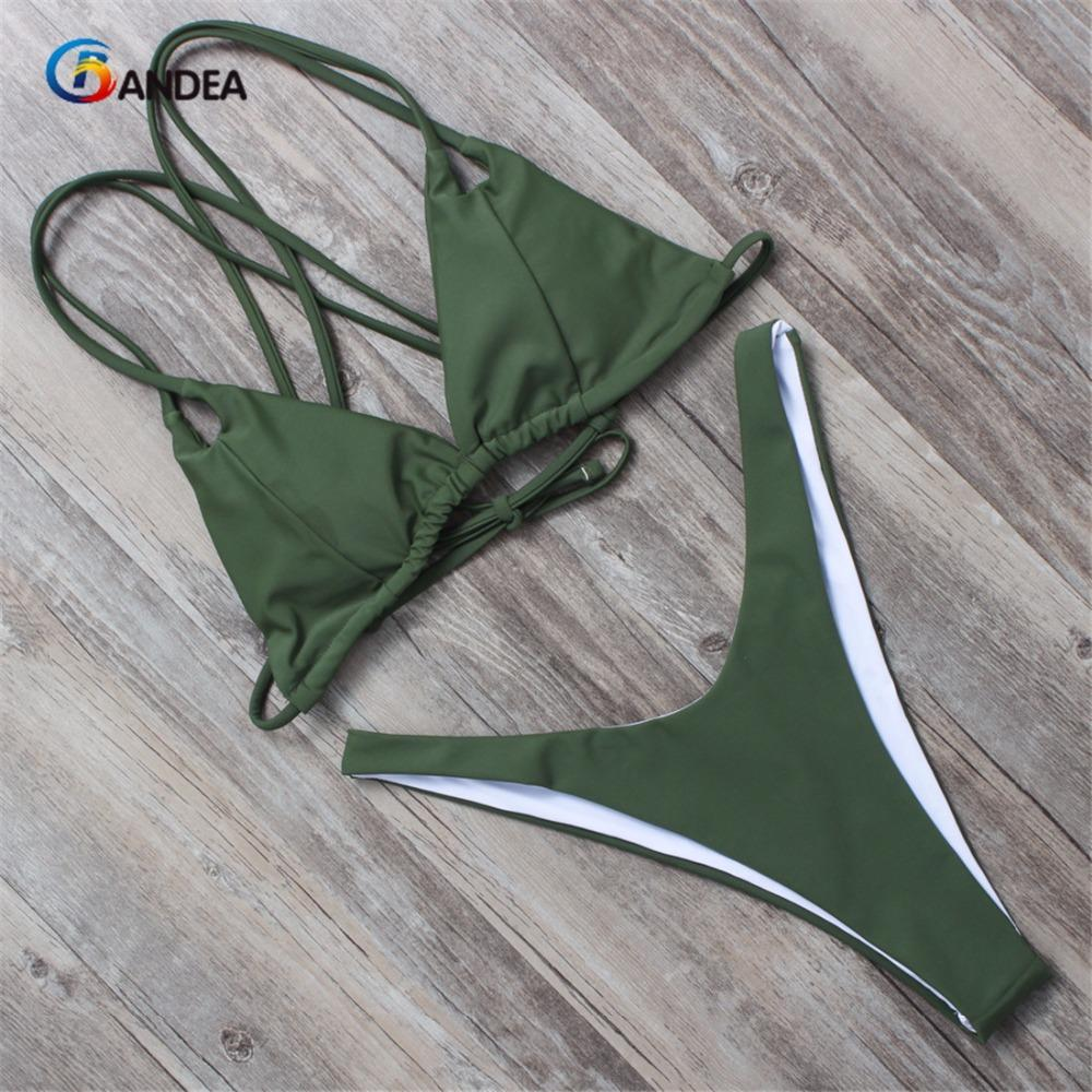 Women bikini set summer solid swimsuit halter top swimwear padding bikini swimwear bathing suit-Bottoms-SheSimplyShops