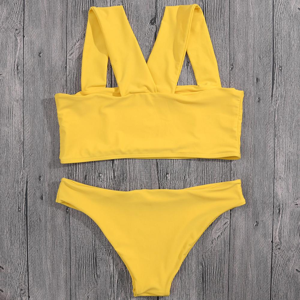 Swimsuit lady yellow wide shoulder strap cross bikini split swimsuit solid color bikini set-SWIMWEAR-SheSimplyShops