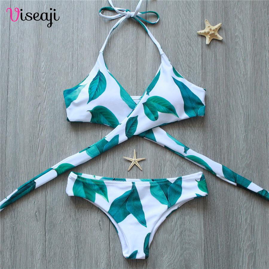 Bikini Cross Print Female Swimwear Women Swimsuit Bikini Set Halter Bathing Suits-SWIMWEAR-SheSimplyShops