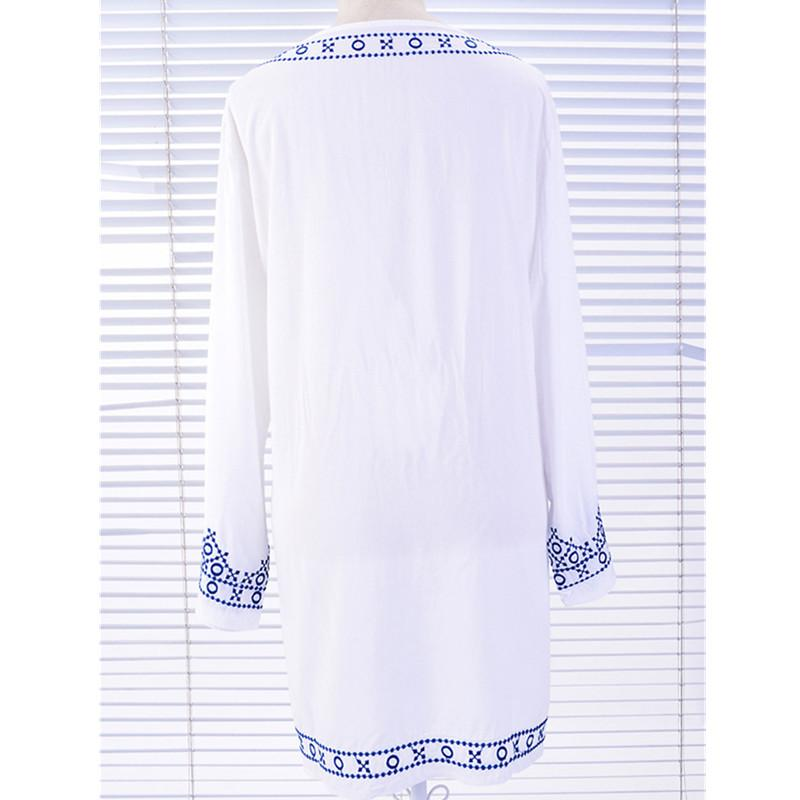 Bikini cover up beach dress swimwear sexy white embroidery slim Sun protection clothing cotton Air-conditioned white short shirt-Dress-SheSimplyShops