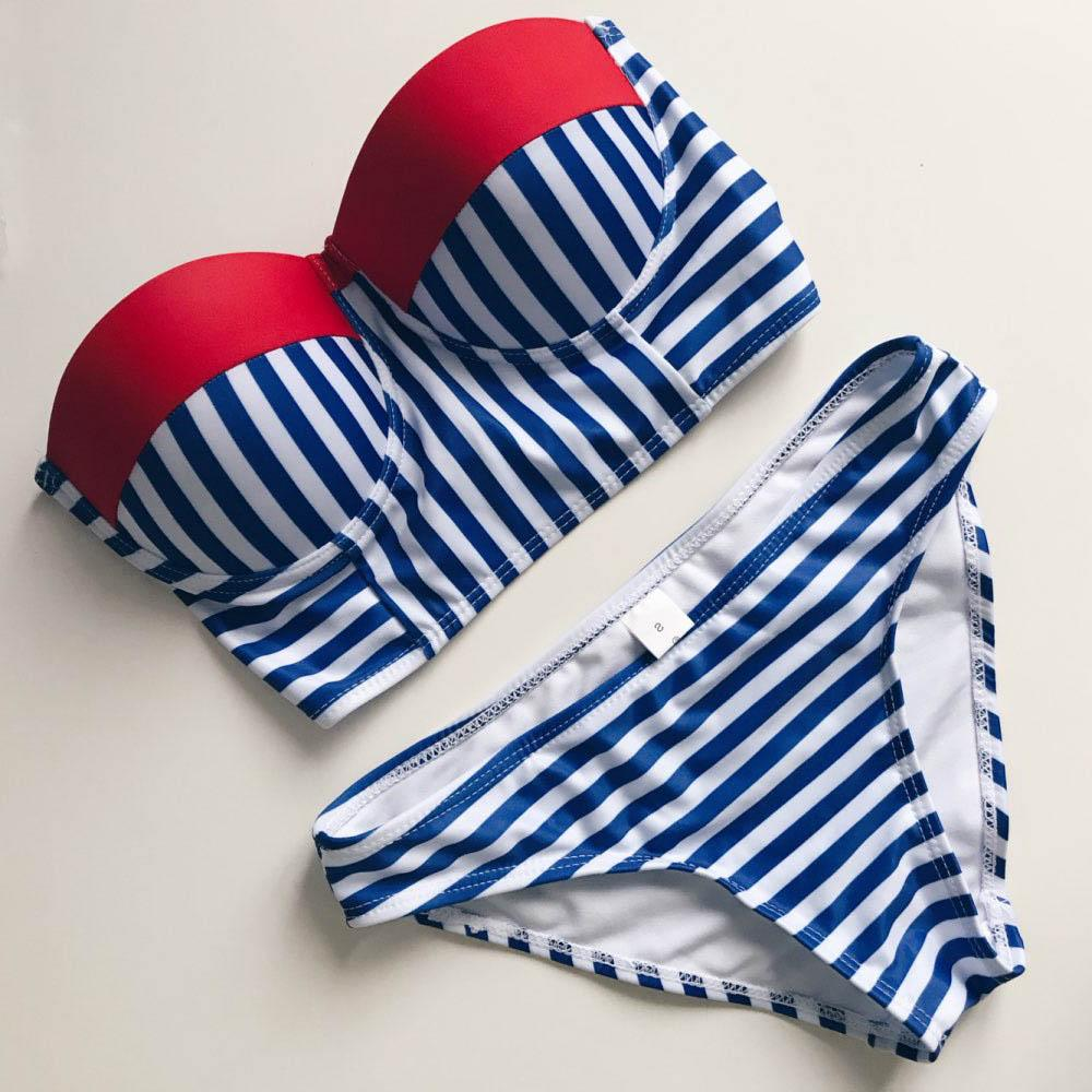 Bikinis Women Swimsuit Push Up Swimwear Women 2017 Sexy Bandeau stripe Brazilian Bikini Set Beach Bathing Suit Swim Wear-SWIMWEAR-SheSimplyShops