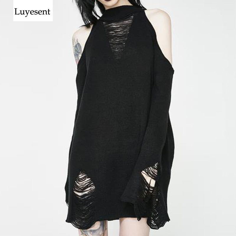 Black Gothic Long Sweaters Women Punk Hollow Out Off Shoulder Thin Hole Pullover Jumpers Cool Broken Knit Sweater Slit Top