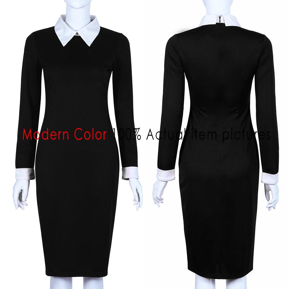 Office Dresses Women Spring New Arrivals Fashion Long Sleeve Pencil Dress Ladies Casual Work Dress With White Collar-Dress-SheSimplyShops