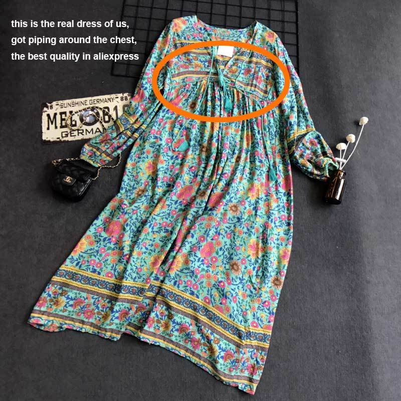Summer dress floral print long sleeve tassel long dresses V-neck loose dress women-Dress-SheSimplyShops