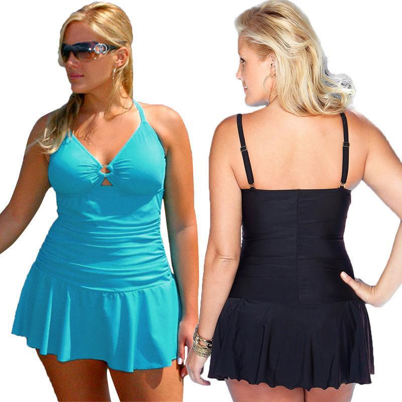 Sexy Black Plus Size One Piece Swimsuit Bikini Women Backless skirt female swimwear dresses for women-Dress-SheSimplyShops