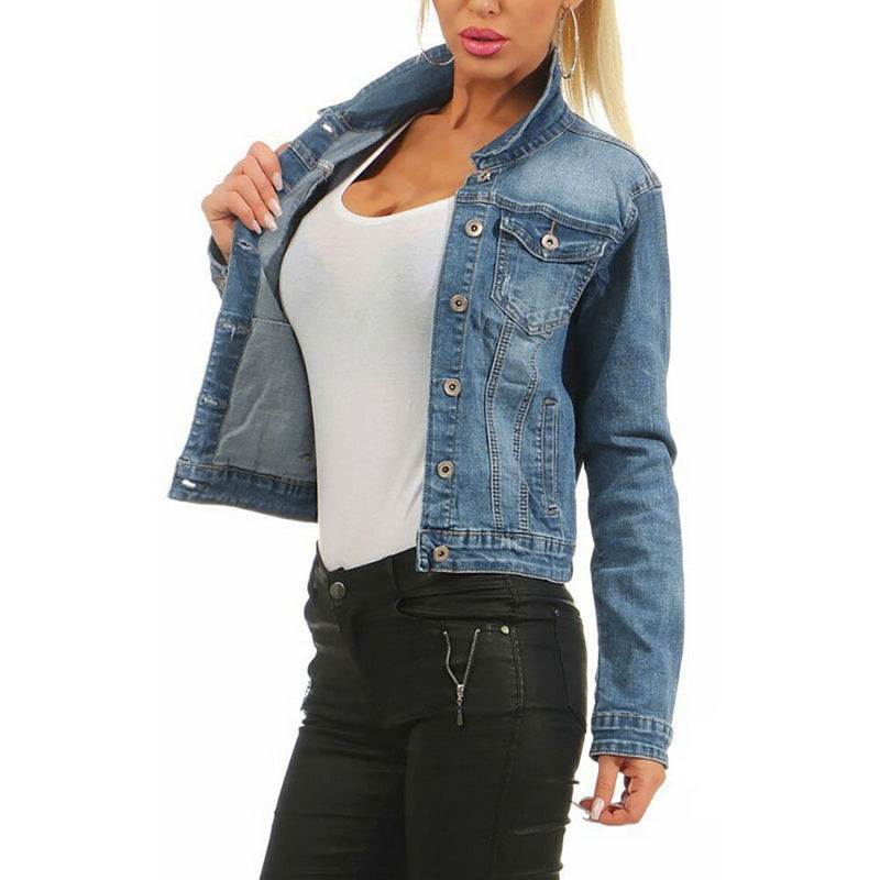 CALOFE Women Frayed Denim Bomber Jean Jacket Basic Button up Lady Casual Vintage Outwear Autumn Female Coat Streetwear