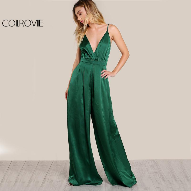 Culotte Leg Elegant Cami Jumpsuit Women Box Pleated Sexy V Neck Jumpsuits Fall Surplice Front Sleeveless Jumpsuit-ROMPERS & JUMPSUITS-SheSimplyShops
