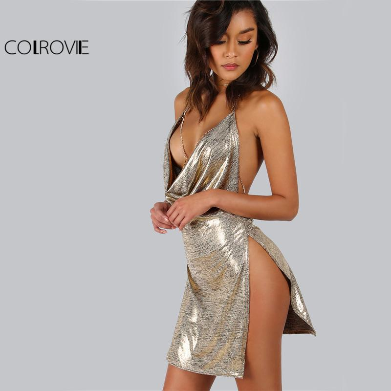 Metallic Plunge Cowl Party Dress Gold Sexy Slit Backless Women Summer Dresses Mini Bodycon Draped Slim Club Dress-Dress-SheSimplyShops