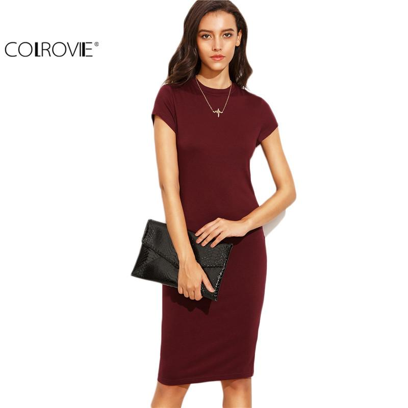 Summer Office New Arrival Women's Bodycon Dresses Fashion Sexy Short Sleeve Crew Neck Work Knee Length Dress-Dress-SheSimplyShops