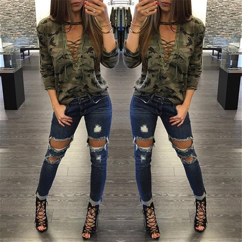 Camouflage Print Women Long Sleeve Slim T-Shirt Fashion V-Neck Lace-up Lady Sexy Tops Army Style Casual Female T-Shirt Tee-SHIRTS-SheSimplyShops