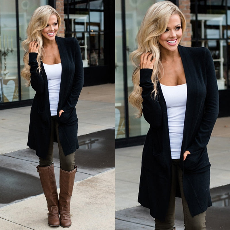 Cardigan Women Long Sleeve Female Elegant Pocket Knitted Outerwear Sweater High Quality