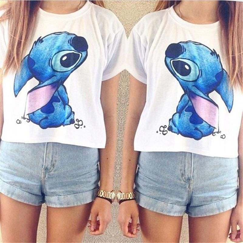 Cartoon Sweet Alien Lilo Stitch Casual T Shirt Summer White Sexy Women Tops Tees Girl T-Shirt Ladies Female-SHIRTS-SheSimplyShops